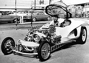 Ed Roth driving Mysterion
