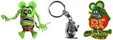 Rat Fink doll, keychain and patch